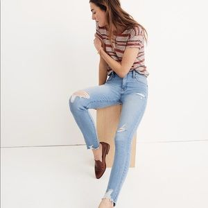"Madewell 9"" High Rise Distressed Hem Skinny Jeans"